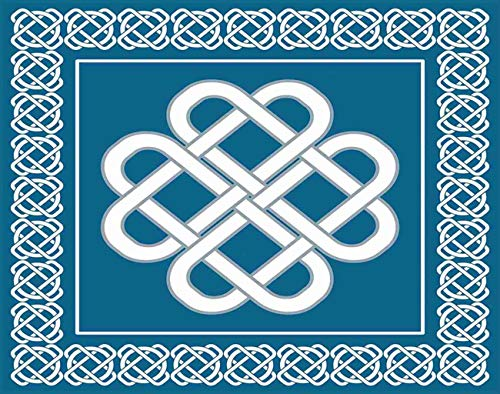Aofire Irish Diamond Painting Kits for Adults Kids, Celtic Love Knot Good Fortune Border Painting by Number Diamond Dotz 5D Crystal Gem Arts Wall Decor 12x16 Inch, Aqua White