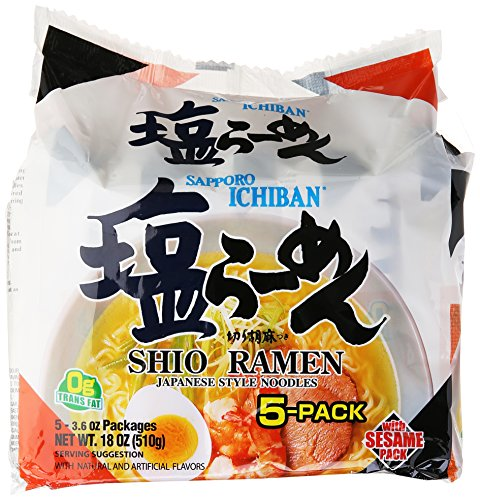 Sapporo Ichiban Instant Bag Shio Ramen Noodles, 3.6 Ounce, (Pack of 5)