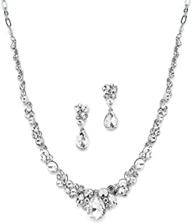 Glamorous Clear Crystal Wedding, Prom, Bridesmaids or Mother of Bride Necklace and Earrings Set