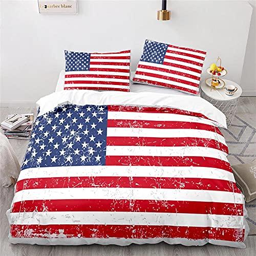 Usa Flagge Bettwäsche-Sets Bettwasche 220X240 cm Bettwäsche Sommer Mit Reißverschluss Komfortabel Hypoallergen Mikrofaser + 2 Kissenbezüge 80X80 cm