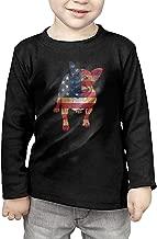 French Bulldog USA Flag Kids Children Unisex Long Sleeve Cotton Crew Neck T-Shirt Tee