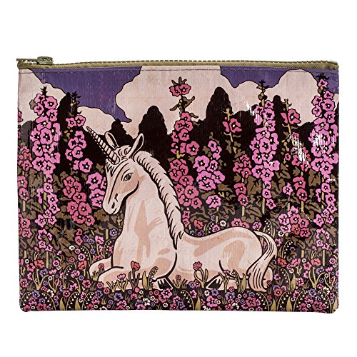 """Blue Q Zipper Pouch, Unicorn. Great for organizing larger bags. Features a chunky sturdy zipper, easy-to-wipe-clean, made from 95% recycled material, 7.25""""h x 9.5""""w"""
