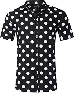 Men's Premium Polka Dot Print Casual Shirt Short Sleeve Cotton Shirts