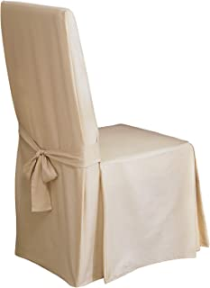 Best Surefit Home Décor Duck Solid Long Full Length Dining Room Chair One Piece Slipcover, Relaxed Fit, 100% Cotton, Machine Washable, 24x24x42 Inches, Natural Color Review
