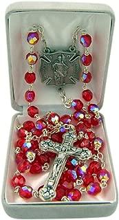 Silver Toned US Civil Servants Patron Saint Glass Prayer Bead Rosary, 16 1/4 Inch