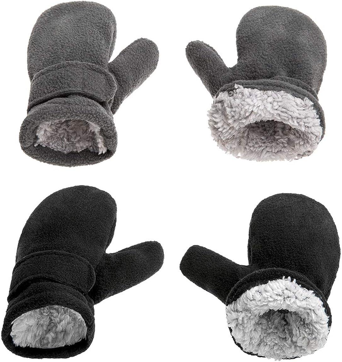 Fleece Lined Mittens for Baby Boys Girls,Baby Toddler Little Kids Winter Gloves Mittens - 2 Pair Pack