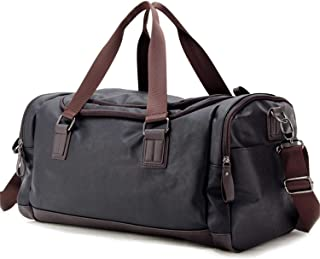 Top PU Travel Duffels Bags Weekender Tote Luggage Bags for Men, Traveling, Gym, Fitness (Black)