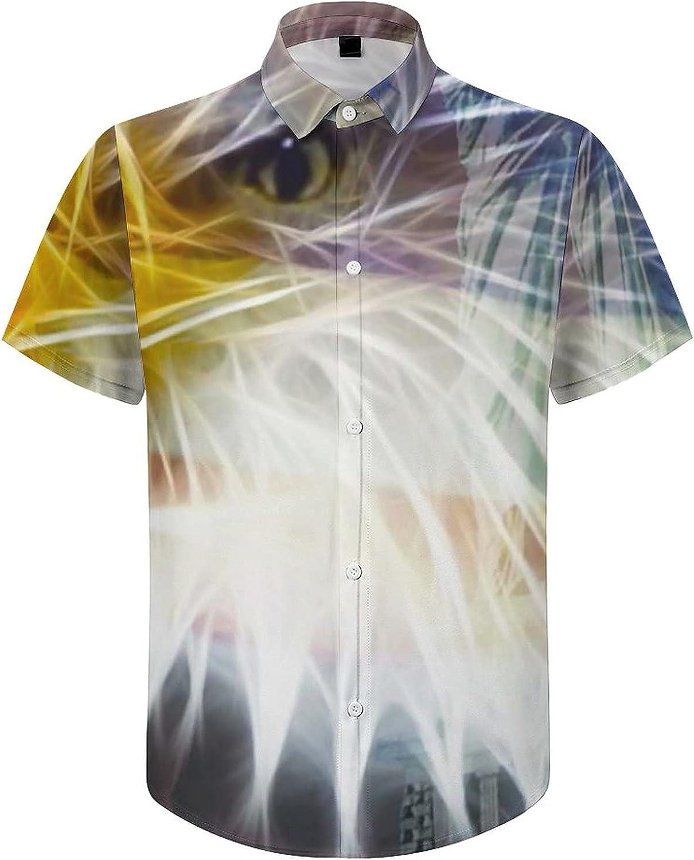 Mens Button Down Shirt The American Flag Statue of Liberty Casual Summer Beach Shirts Tops