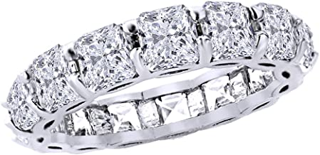 Jewel Zone US Asscher Cut White Cubic Zirconia Eternity Band Ring in 14k Gold Over Sterling Silver