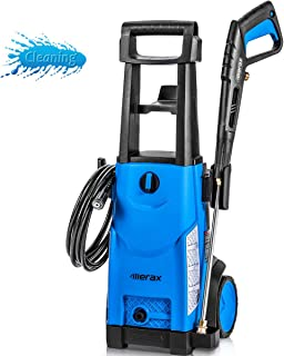 Merax 1800PSI 1.3GPM Electric Pressure Washer, Compact Power Washer with Metal Spray Wand, 20-Foot Hose and Removable Detergent Tank (Royal Blue)