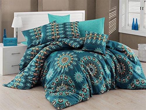 Juego de ropa de cama de lino doble, de loto; hecho de una mezcla de cachemira, mandala, Nirvana, hippie, gitano, indio, africano, étnico, reactivo, yoga, oriental, Buddha,Feng Shui, Boho,verde