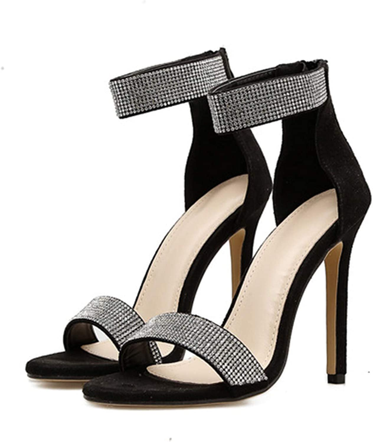 Crystal Heel Sandals Brand Design Sexy Bling High Heel Women Sandals Elegant Party shoes,Black,4