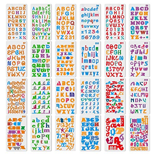 XCOZU Buchstaben Schablonen, 24 Blatt Buchstaben und Zahlenschablonen Scrapbook Zubehör Alphabet Schablonen Kinder Stencil Journal Scrapbooking Malerei Graffiti Zeichnung Bastel Wiederverwendbar
