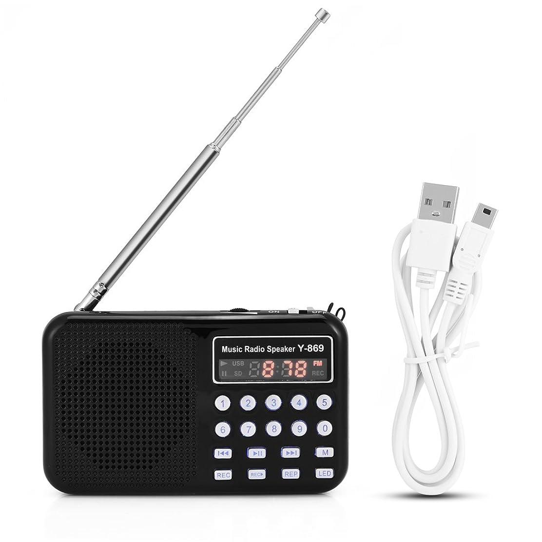 バンク気づくなる木材FMラジオ Bewinner ポータブル デジタル オーディオ ラジオ 音楽プレーヤースピーカー LED懐中電灯 TFカード USBディスクサポート 高感度受信 持ち運びやすい
