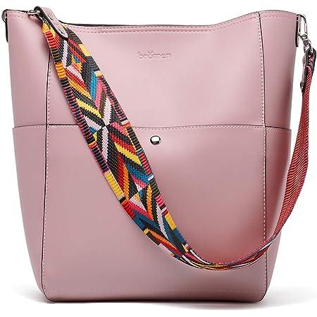 BROMEN Handtasche Damen Leder Schultertasche Umhängetasche Groß Shopper Designer Tasche mit 2 Trageriemen Rosa