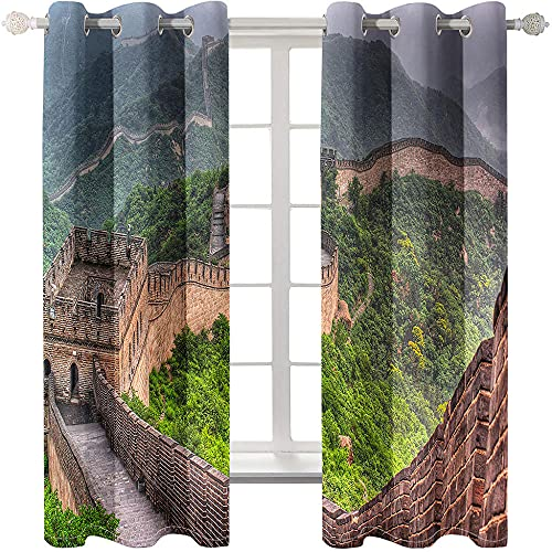 QGWMCD Verdunklungsvorhang Grünbraune große Mauer,Super Soft Polyester Fenstervorhang Room Verdunkelung Home Decor für Schlafzimmer Wohnzimmer 140x250cm x2