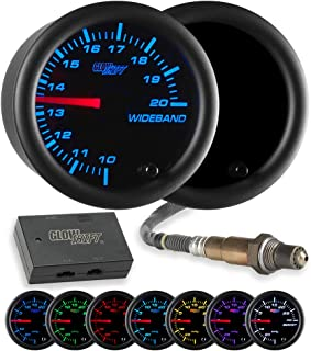 GlowShift Tinted 7 Color Needle Wideband Air/Fuel Ratio AFR Gauge - Includes Oxygen Sensor, Data Logging Output & Weld-in Bung - Black Dial - Smoked Lens - 2-1/16