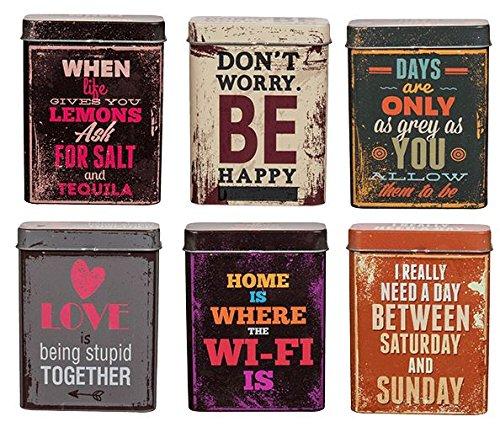 CONCEPT4U - Portasigarette in metallo, design assortito, con slogan in latta, con tasca arrotolabile e porta carta da regalo
