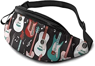 Guitar Pattern Runner's Riñonera Paquete De Cintura Correas Ajustables Bolsillo con Conector para Auriculares para Unisex
