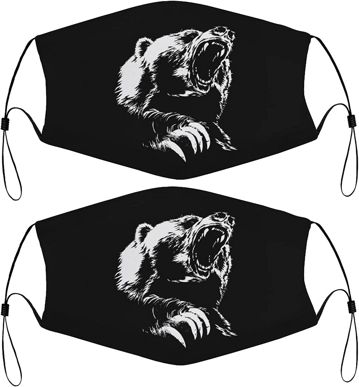 Roar Bear Kids Face Masks Set of 2 with 4 Filters Washable Reusable Adjustable Black Breathable Cloth Bandanas Scarf for Children Boys Girls