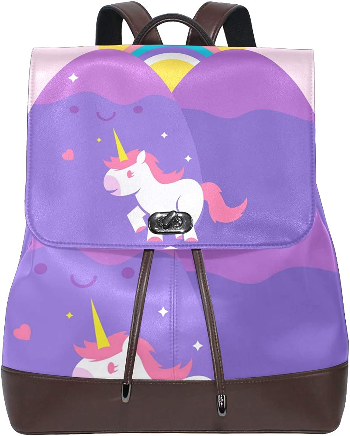 FAJRO purple Stone Egg Unicorn Travel Backpack Leather Handbag School Pack