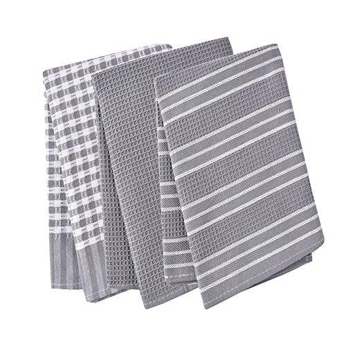 Paños de cocina, 100% algodón, de tejido de lino, diseño vintage, se pueden utilizar como plato de té toallas/trapo de cocina, 3unidades, en gran tamaño 45x 65cm, 100% algodón, Gris, 45x65c