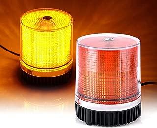 Emergency Strobe LED Beacon Light [12-24Watt][Powerful Magnet] [Dust Cover] [10ft Cord] Emergency Warning Caution Flashing Light, for Snow Plow Truck UTV Vehicle - Amber