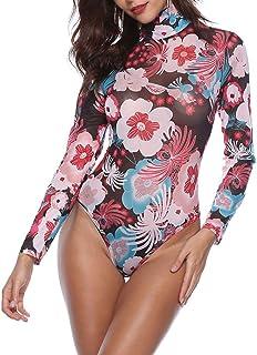 Huicai スリムフィット 高襟 ジャンプスーツ 婦人向け 印刷 ボディスーツ セクシー トップス ロングスリーブ