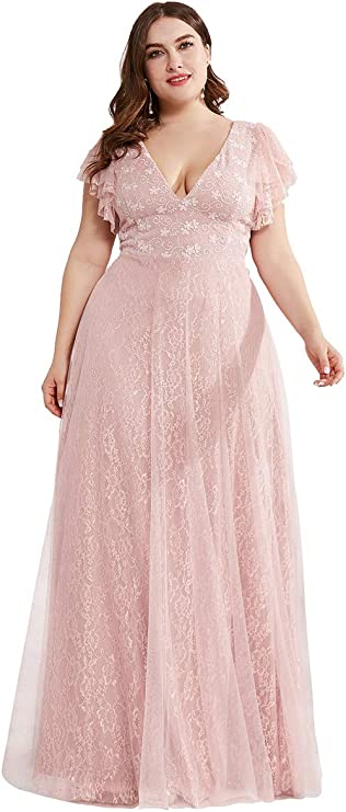 1930s Evening Dresses | Old Hollywood Silver Screen Dresses Ever-Pretty Womens Double V-Neck Floral Lace Plus Size Evening Dress 0857-PZ  AT vintagedancer.com