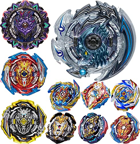 UGY Gyros 10 Pieces Pack, Bey Battling Top Battle Burst High Performance Set with Stickers, Birthday Party School Gift Idea Toys for Boys Kids Children Age 8+