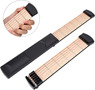 左手用ポケットギター ポータブルギター ポケットストリングス 6フレット 練習用 初心者向け 持ち運び便利 練習用ガジェットツール ギター補助 …