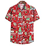 Hawaiana Camisa Hombre Moderna Holgada Cuello V Hombre T-Shirt Verano Cárdigan Vintage Estampado Hombre Manga Corta Urbano Casual Vacaciones Hombre Playa Shirt TC76 L