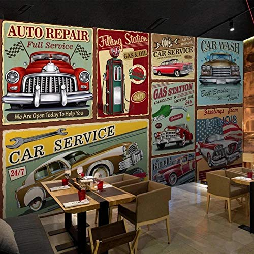 Papel Tapiz Fotográfico Retro Nostálgico Pintado A Mano Estilo Europeo Clásico Coches Murales Bar Restaurante Fondo Papel De Pared Para Paredes 3D 350(L) x245(H) cm