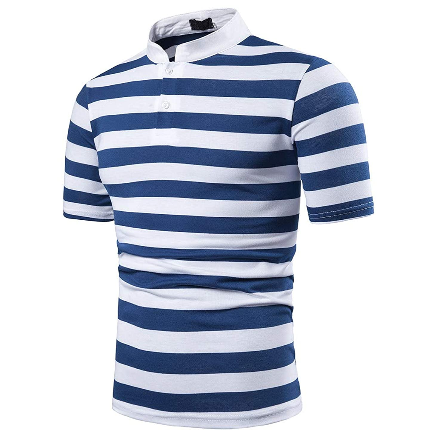 Men's Short Collar Polo Shirt,MmNote Textured Design Classic Pique Slim Fit Elastic Antibacterial Classic Fit T-Shirt
