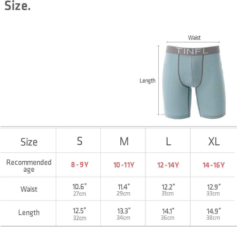 TINFL 8-16 Years Big Boys 100/% Cotton Long-Leg Boxer Briefs 3 Pack Wide Band Underwear Set
