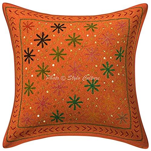 Stylo Culture Tapis de Coussin Traditionnel Coton Gold Zari Sequins brodé 16x16 Orange Home Decor