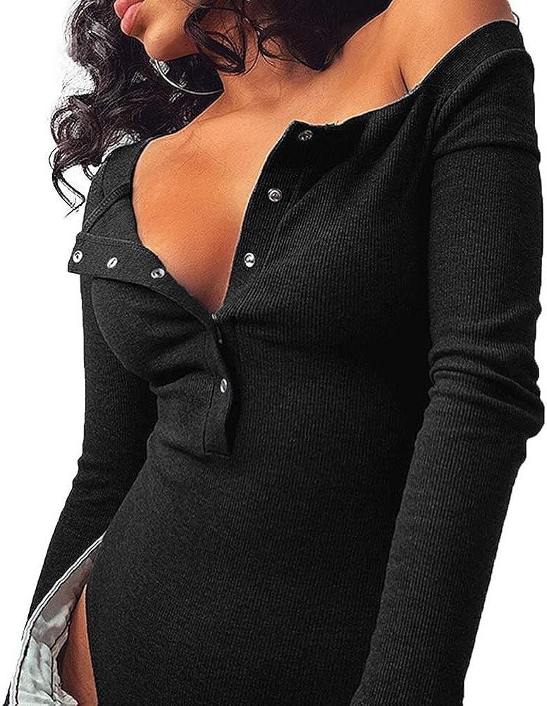 Sujleiyya Women Long Sleeve Button Bodysuit Sexy V-Neck Bodycon Ribbed Basic Leotard Jumpsuit