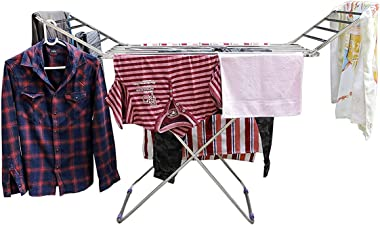 Flawless Stainless Steel Foldable Cloth Dryer Stand Double Rack Cloth Stands for Drying Clothes Steel
