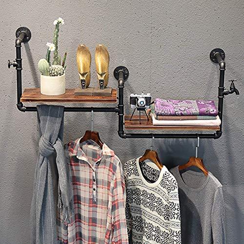 Hanger Industriële Kleding Rack Commerciële Display Wandplank Eenheid Steampunk Stijl Mooie Decoratieve Seizoensgebonden Outfitswall Kleding IJzeren hout (Kleur : Zwart)