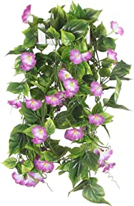HUAESIN 2Pcs 2.1m Artificial Flowers Vine Garland Fake Flowers Hanging Plant Basket Outdoor Faux Morning Glory Hanging Vines for Porch Patio Home Garden Wall Wedding Decor Purple