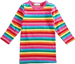 Halloween Chucky Costume Top Girls Rainbow Striped Cotton Dress Cute Pullover Blouse Long Shirt Dress