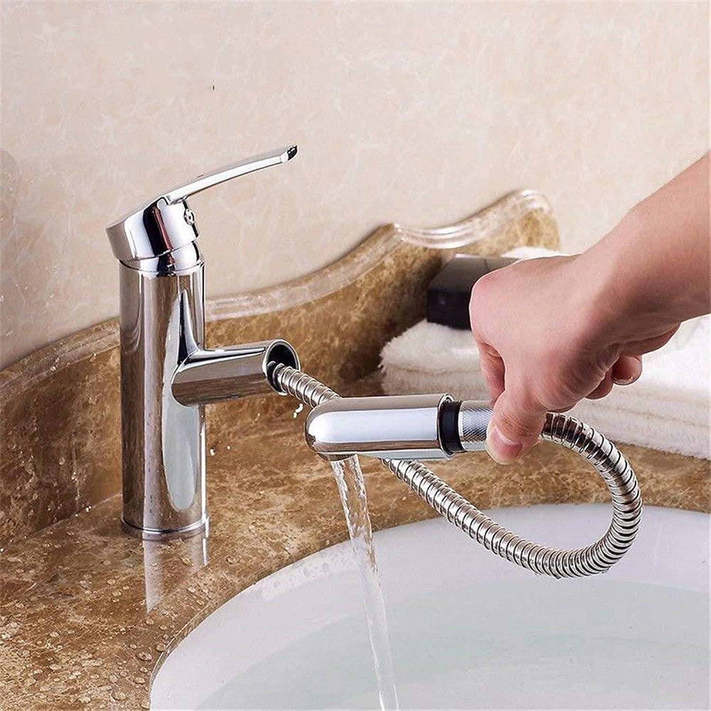 FUWUX Home Waschbecken Mischbatterie Badezimmer Küchenbecken Wasserhahn Dicht Wasserdicht Beckenmischer Pull Taps Plus High-Low, Warmwasser