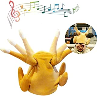 lesgos Thanksgiving Day Turkey Hat, Electric Singing Dancing Plush Chicken Leg Hats, Funny Tricks Masquerade Cosplay Props Toys for Thanksgiving Halloween Christmas (Battery Not Include)