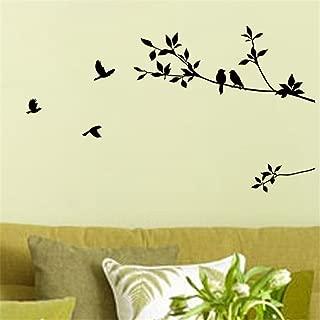 Picniva Black 17'' X 40'' Birds Flying Tree Branches Wall Sticker Vinyl Art Decal Mural Home Decor