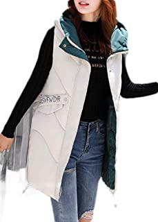 Macondoo Womens Letter Print Winter Puffer Vest Quilted Hooded Down Vest Coat