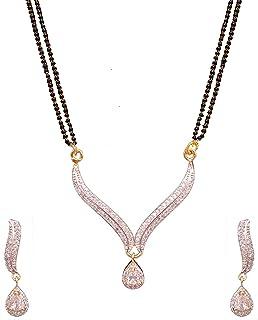 Sitahsi Fashion Jewelry, American Diamond White Stone Mangalsutra Set for Women