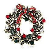 Bluelover Natale Corona Festivo Spilla Regalo Camicia Collare Spilla Scheggia & Oro - Oro