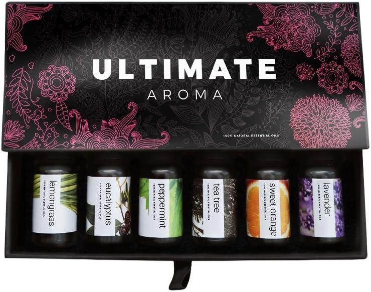 Ultimate Aroma Aceites esenciales, kit de aceites 100% puros de grado terapéutico - Top 6 Set de regalo de aceites de aromaterapia - 6 10ML (eucalipto, lavanda, hierba de limón, naranja, árbol de té)