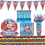 Miotlsy 62 Piezas Decoración de la Fiesta de cumpleaños Infantil de Ryan's World Vajilla Cumpleaños Incluye Mantel Tenedores Cuchillos Platos Pancarta de Suministros de Fiesta de Carnaval para Niños