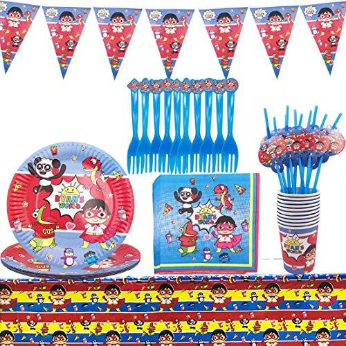 WENTS 62 Piezas Decoración de la Fiesta de cumpleaños Infantil de Ryan's World Vajilla Cumpleaños Incluye Mantel Tenedores Cuchillos Platos Pancarta de Suministros de Fiesta de Carnaval para Niños
